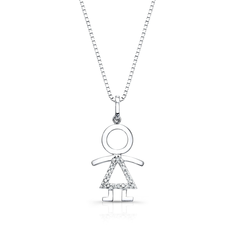 Shop Auriya Diamond Accent Girl Pendant Necklace 14k White Gold Overstock 6313070