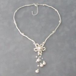 Pearl and Crystal Silk White Star Flower Necklace (4-10 mm)(Thailand)