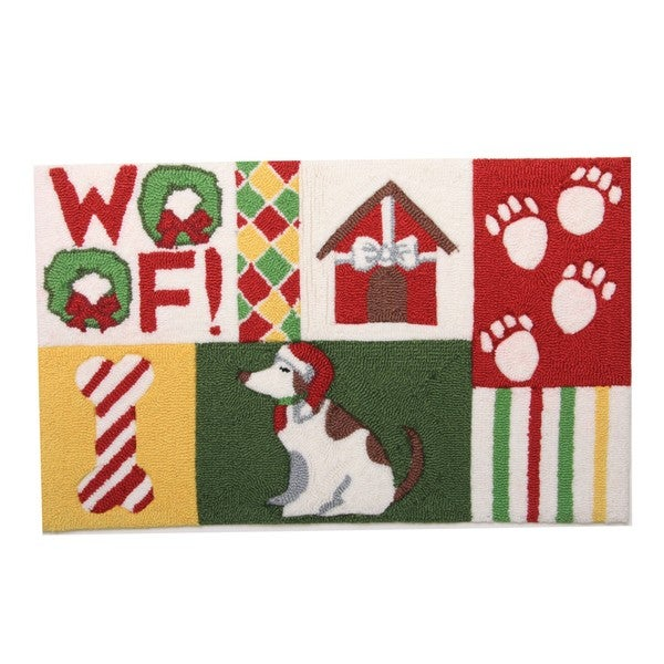 Dog Bone Pet Rug: Holiday Pattern Dog With Candy Bone Pet Rug And Diner Mat