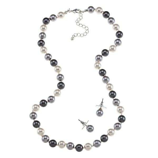 Roman Cream and Grey Faux Pearl Earring and Necklace Set