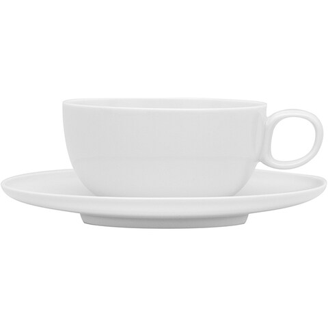 Red Vanilla Everytime White Porcelain Tea Cups and Saucers (Set of Six)