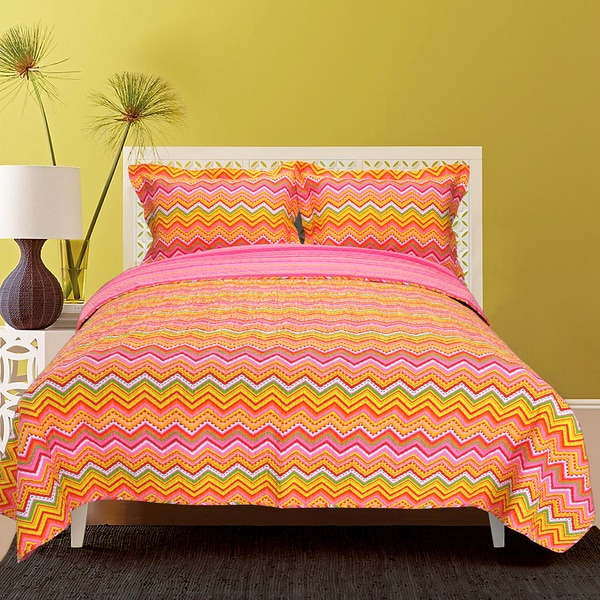 Superior Orange Zig-Zag Cotton 3-piece Quilt Set