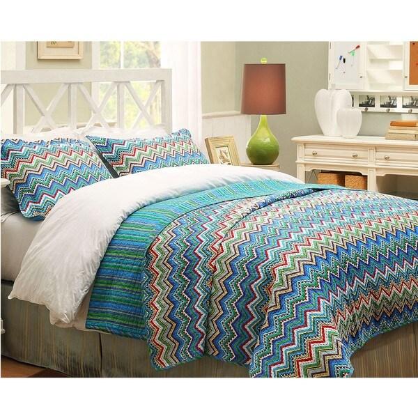 Blue ZigZag King-size 3-piece Quilt Set