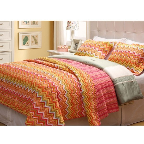Orange ZigZag Twin-size 2-piece Quilt Set