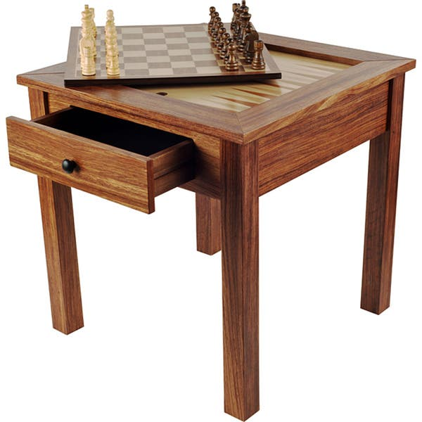 Wood 3 In 1 Chess Backgammon Table