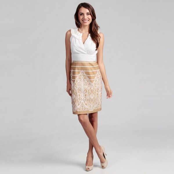 Cece's New York Women's Tan/ White Ruffle Dress