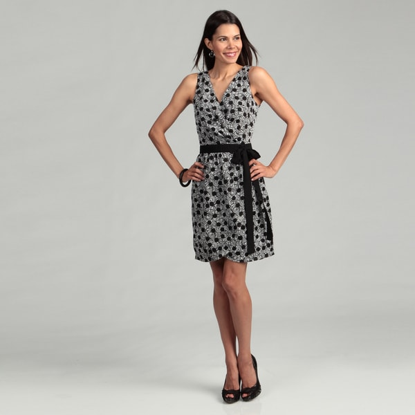 Cece's New York Black/ White Abstract Tie Dress