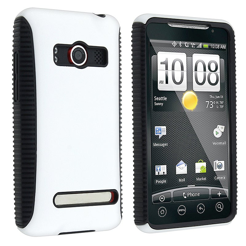 INSTEN White Hybrid Phone Case Cover for HTC EVO 4G Supersonic