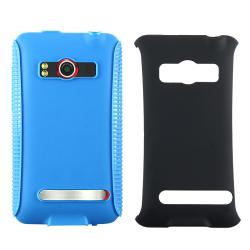 INSTEN Blue Hybrid Phone Case Cover for HTC EVO 4G Supersonic
