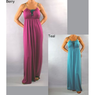 Institute Liberal Women's Beaded Strap Jersey Sleeveless Maxi Dress