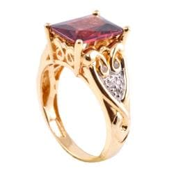 Michael Valitutti 14k Gold Rhodolite Garnet and Diamond Accent Ring