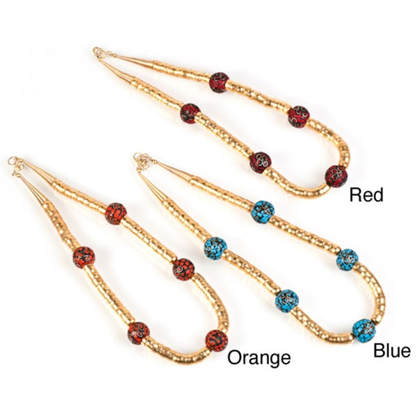 Handmade Goldtone Inlaid Natural Five Stone Bead Necklace (India)