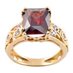 Michael Valitutti 14k Gold Rhodoltie Garnet and 1/10ct TDW Diamond Ring (I-J, I1-2)