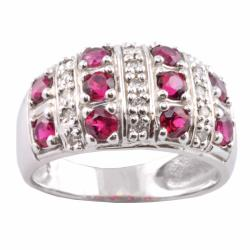 Michael Valitutti 14k Gold Rubellite and 1/6ct TDW Diamond Ring (I-J, I1-I2)