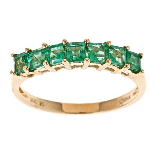 Shop D Yach 14k Yellow Gold Square Cut Zambian Emerald