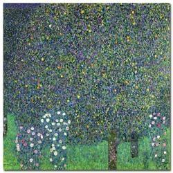 Gustav Klimt 'Roses Under the Trees 1905' Gallery-Wrapped Canvas Art