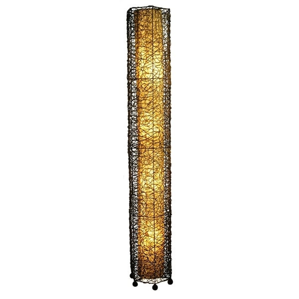 Handmade Natural Durian Fruit Fiber Paper Shade Giant Floor Lamp (Philippines)