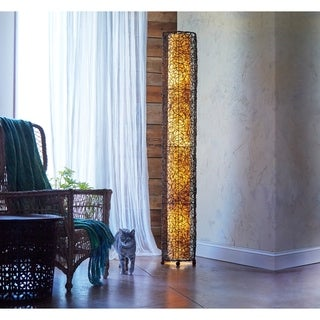 Handmade Natural Durian Fruit Fiber Paper Shade Giant Floor Lamp (Philippines)