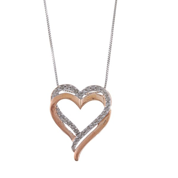 Sterling Silver 1/4ct TDW Diamond Heart Necklace (J-K, I3)