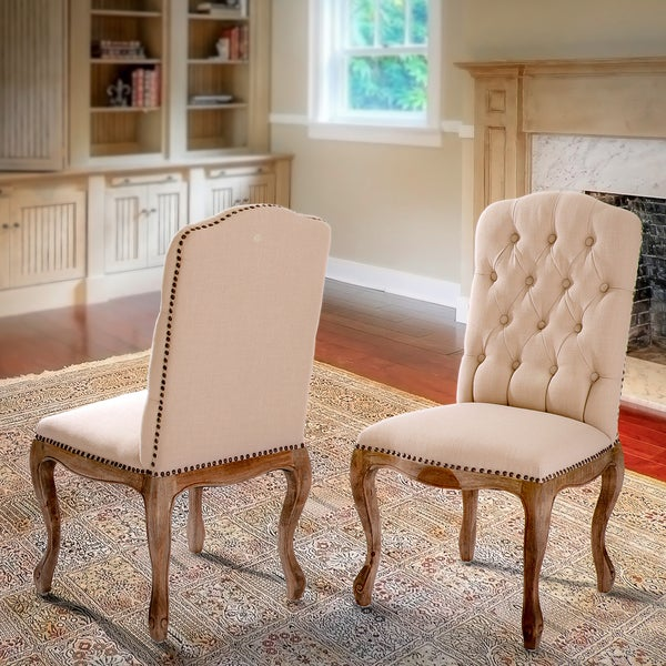 Weathered Hardwood Studded Tan Dining Chair (Set of 2) by Christopher Knight Home