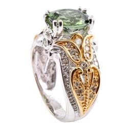 Michael Valitutti 14k Gold Green Tourmaline and 1/2 ct TDW Diamond Ring (I-J, I1-I2)