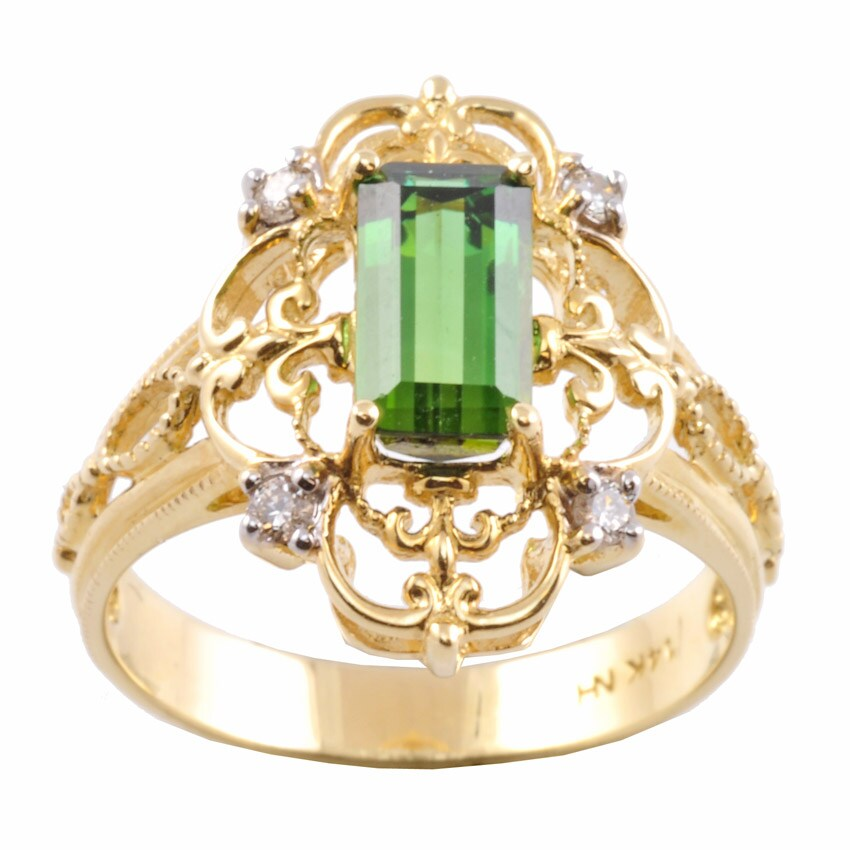 Michael Valitutti 14k Gold Green Tourmaline and 1/10ct TDW Diamond Ring (I-J, I1-I2)