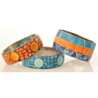 Handmade Inlaid Natural Stone Round Bracelet (India)