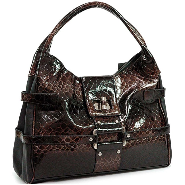 Dasein Snakeskin Embossed Faux Leather Shoulder Bag