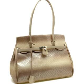 Dasein Patent Leatherette Snakeskin Embossed Shoulder Bag