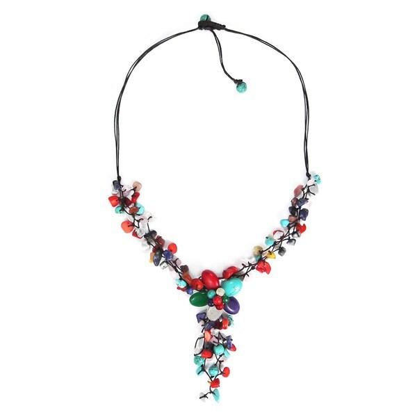 Colorful Gemstone Flower Cluster Necklace (Thailand)