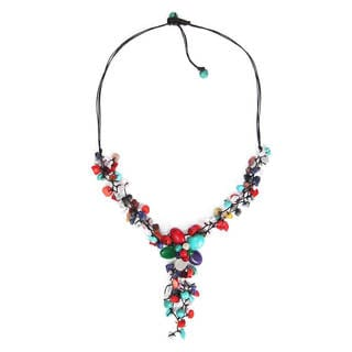 Colorful Gemstone Flower Cluster Necklace (Thailand)