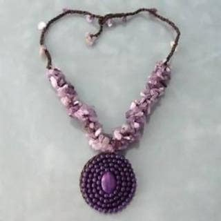 Handmade Purple Amethyst Mosaic Cluster Necklace (Thailand)