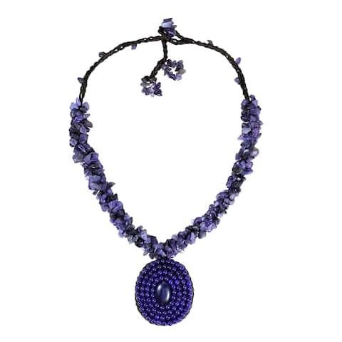 Handmade Purple Round Amethyst Mosaic Pendant Cluster Necklace (Thailand)