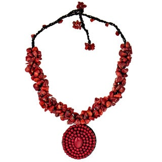 Handmade Red Coral Mosaic Cluster Necklace (Thailand)
