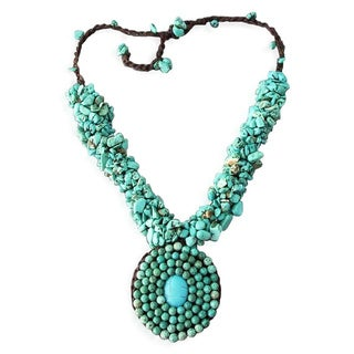 Handmade Turquoise Cluster Mosaic Necklace (Thailand)