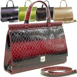 Dasein Patent Alligator Skin Embossed Leatherette Briefcase