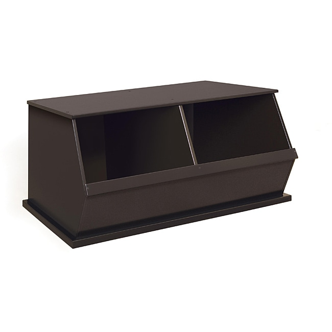 Badger Basket Two Bin Stackable Storage Cubby in Espresso...