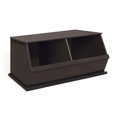 Badger Basket Espresso Finish Two-bin Stackable Storage Cubby