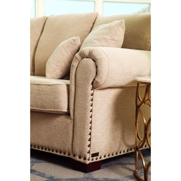 Awesome Shop Abbyson Santa Barbara Beige Fabric Sectional On Sale Theyellowbook Wood Chair Design Ideas Theyellowbookinfo