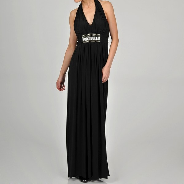 One By Eight Women's Black Jersey Halter Beaded Gown