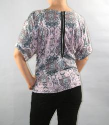 Women's Bateau Neck with Zipper Back Detail Kimono Top - Thumbnail 1