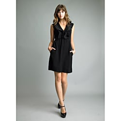 Issue New York Women's Black Ruffle V-neck Sleeveless Dress
