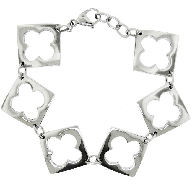 Stainless Steel Cutout Clover Link Bracelet