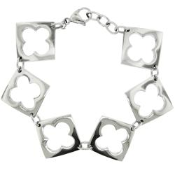 Stainless Steel Cutout Clover Link Bracelet