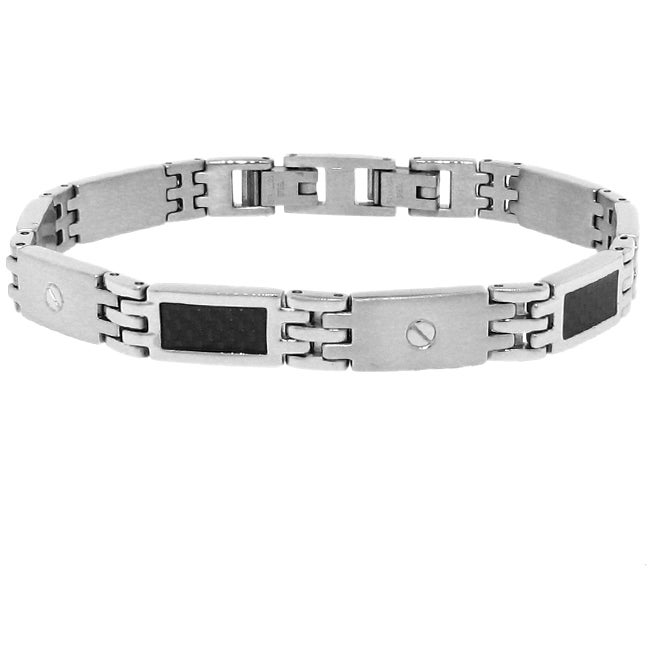 Stainless-Steel Men's Link Bracelet with Black Inlay