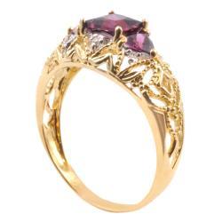 Michael Valitutti 10k Gold Rhodolite Garnet and Diamond Trinity Ring - Thumbnail 1