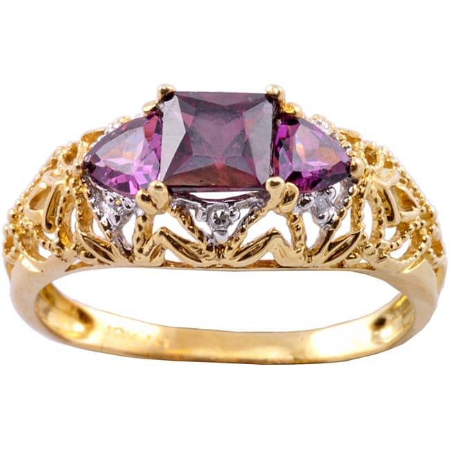 Michael Valitutti 10k Gold Rhodolite Garnet and Diamond Trinity Ring