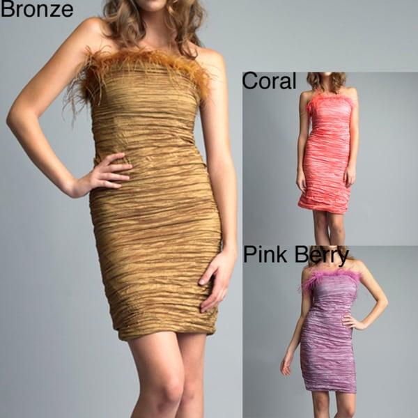 Issue New York Women's Crinkled Taffeta Feather Dress