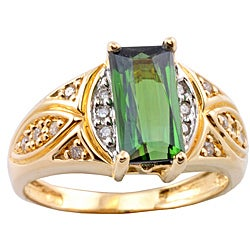 Michael Valitutti 14k Gold Green Tourmaline and 1/8ct TDW Diamond Ring (I-J, I1-I2)