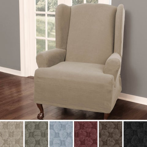 """Maytex Pixel Stretch 1 Piece Wing Back Arm Chair Slipcover - 25-31"""" wide"""
